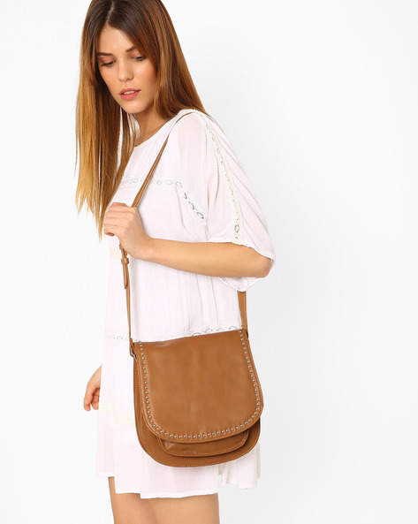 Sling Bag With Embellished Flap By AJIO ( Tan )