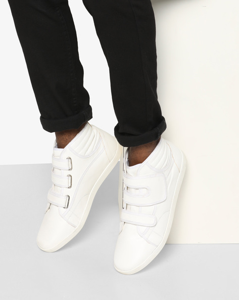 Panelled Mid-Top Sneakers With Velcro Fastening By AJIO ( White )