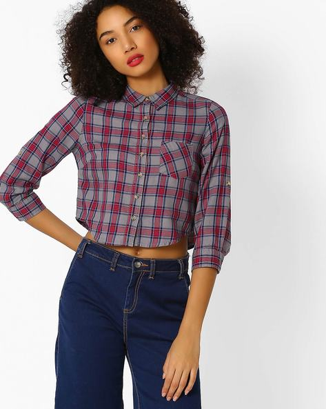 Checked Shirt With Patch Pocket By DNMX ( Ltgrey )