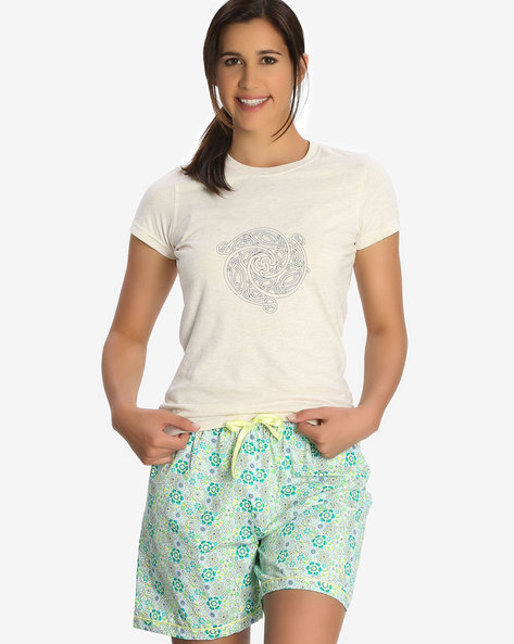Printed Shorts With Elasticated Waistband By Jockey ( Assorted )