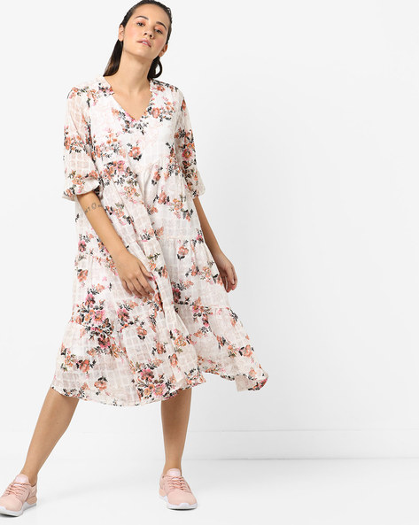 V-neck Panelled Floral Print Dress By Femella ( White )