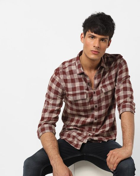 Checked Slim Fit Shirt With Flap Pockets By AJIO ( Rust )