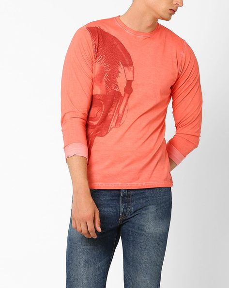 Full-Sleeve Cotton T-shirt With Skull Print By Garcon ( Coral )