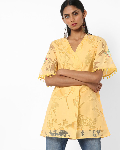 Embroidered Tunic With Pom-Poms By AJIO ( Yellow )