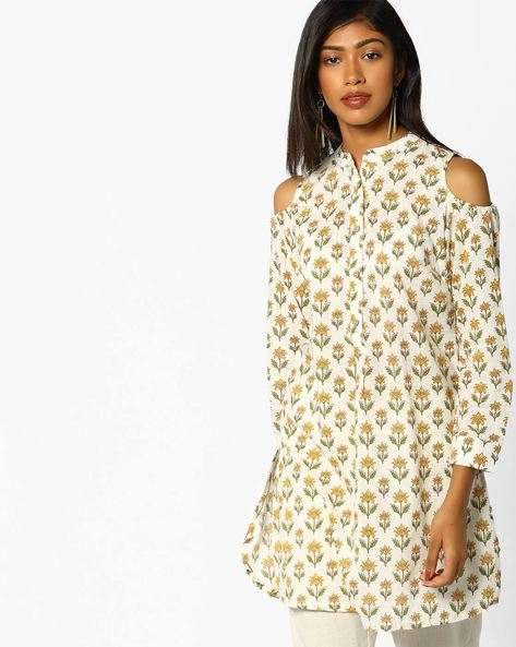 Cold-Shoulder Tunic By AJIO ( Ivory )
