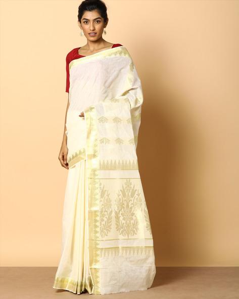 Kerala Kasavu Soft Cotton Saree With Zari Pallu By Indie Picks ( Offwhite )