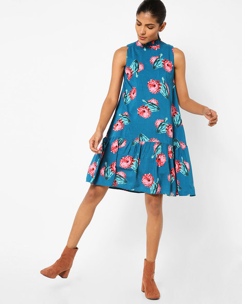 Sleeveless Printed A-line Dress By AJIO ( Blue )