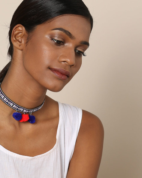 Beaded Choker Necklace With Pom Poms By Indie Picks ( Blue )