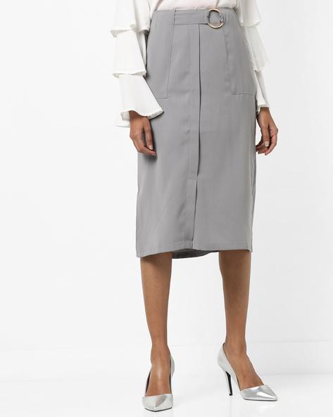Pencil Skirt With Waist Belt By AJIO ( Darkgrey )
