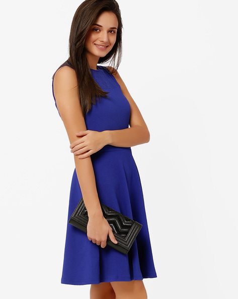 Skater Dress With Lace Detail By The Vanca ( Blue )