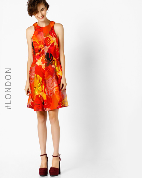 Printed A-line Dress By Closet London ( Red )