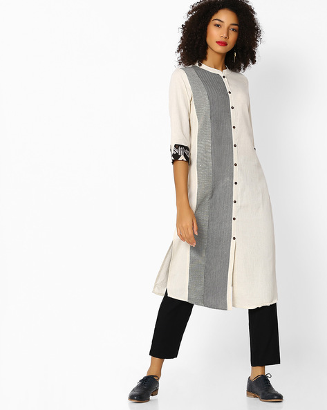 Chevron Print Shirt Kurta By AVAASA WORKWEAR ( Offwhite )