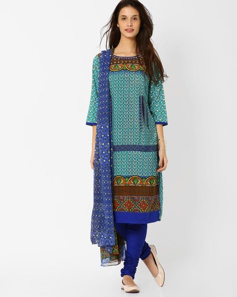 Printed Churidar Kurta With Dupatta By AVAASA SET ( Ltblue )