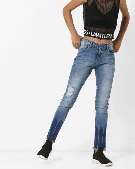 Acid-Washed Distressed Jeans With Frayed Hems By AJIO ( Blue )