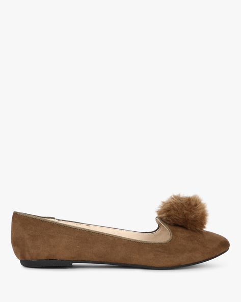 Suede Ballerinas With Fur By Truffle Collection ( Khaki )