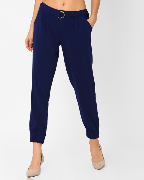Cuffed Trousers with Fabric Belt