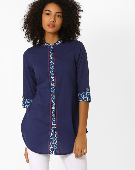 Cotton Kurti With Roll-Up Tabs By AJIO ( Navyblue )
