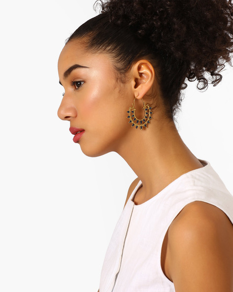 Stylised Hoop Earrings With Stone Embellishment By Fida ( Navy )
