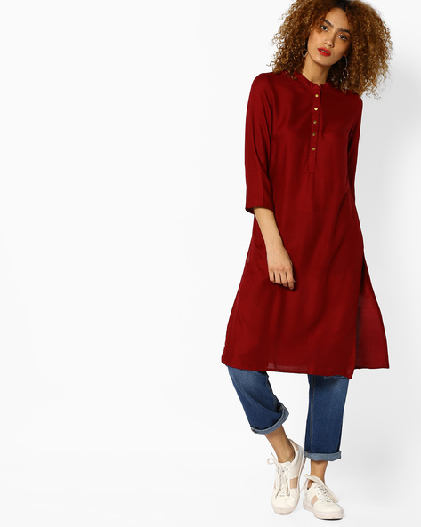 Straight Kurta With Mandarin Collar By AJIO ( Maroon )