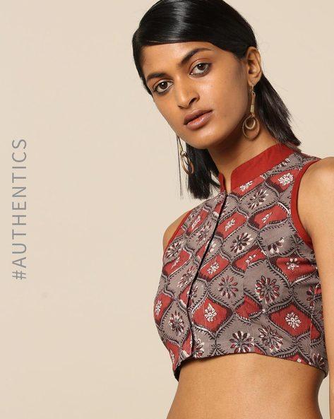 Handblock Print Cotton Sleeveless Mandarin Collar Blouse By Molcha ( Multi )