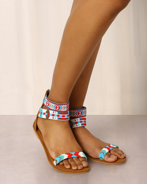 Beaded Sandals With Ankle Straps By Indie Picks ( Brown ) - 460017691001