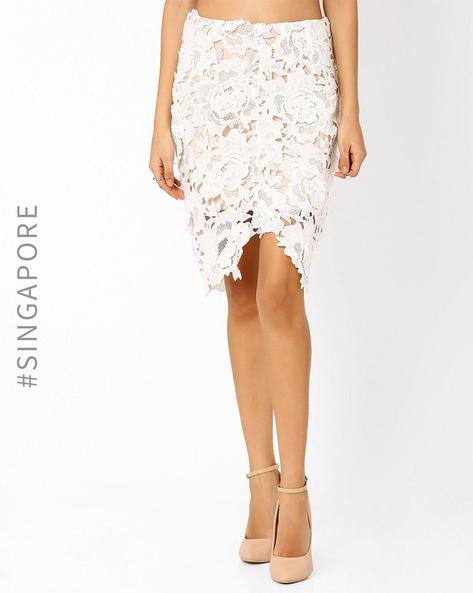 Lace Pencil Skirt By MDS ( White )