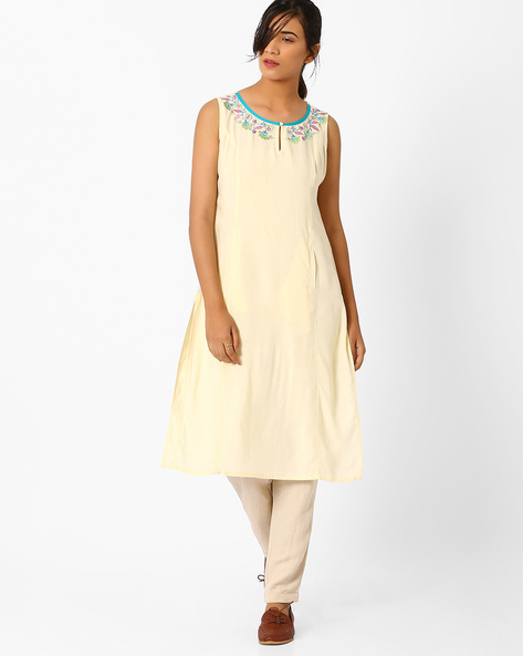 Panelled A-line Kurta With Pocket By AJIO ( Offwhite )