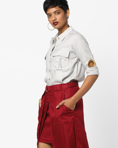 High-Low Shirt With Flap Pockets By AJIO ( Grey )