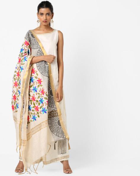 Cotton Silk Dupatta With Floral Embroidery By Dupatta Bazaar ( Multi )