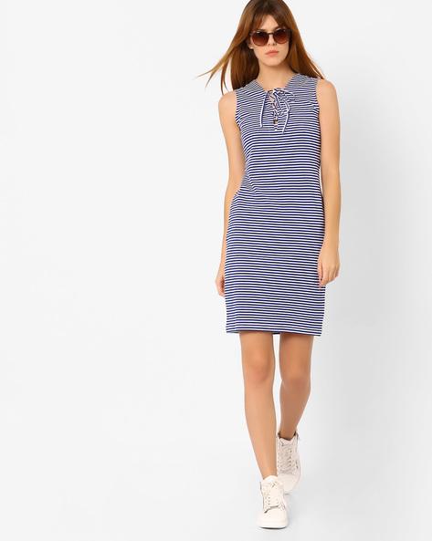 Striped Sleeveless Sheath Dress By AJIO ( Blue )