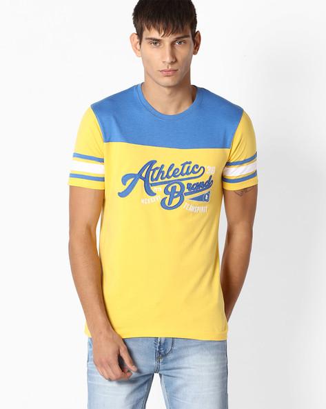 Cut & Sew Cotton T-shirt By Teamspirit ( Yellow )