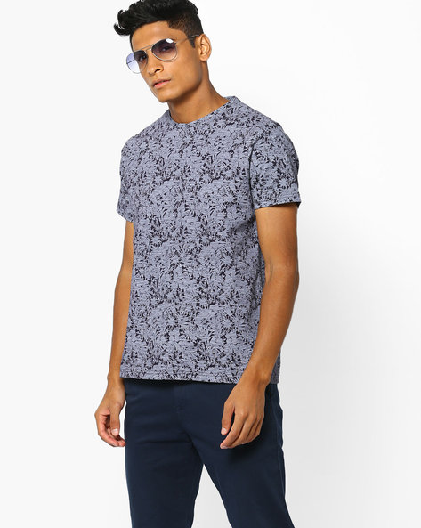 Floral Print Crew-Neck T-shirt By AJIO ( Navy )