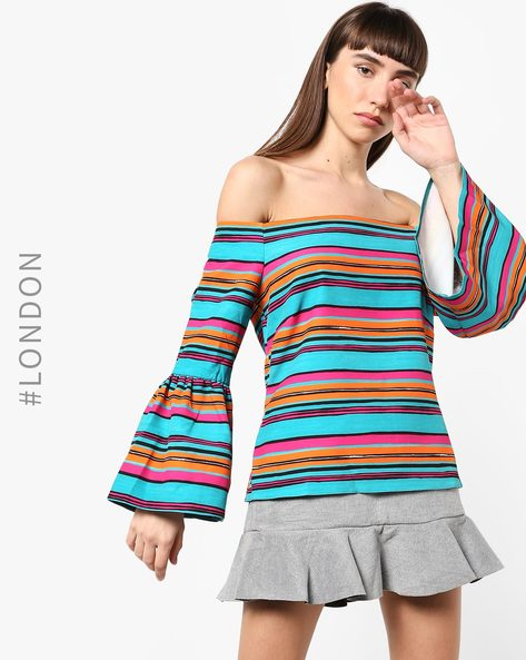 Striped Off-Shoulder Top With Trumpet Sleeves By Closet London ( Multi )