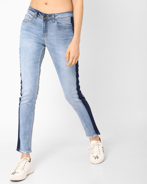 Colourblock Straight Fit Jeans By AJIO ( Lightblue )