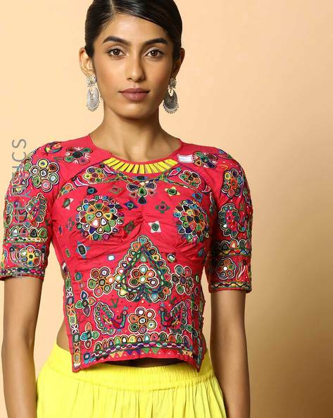 Kutch Embroidered Backless Blouse By Indie Picks ( Multi ) - 460103662001