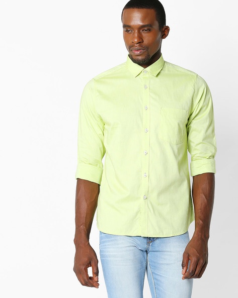 Slim Fit Shirt With Patch Pocket By VIMAL APPARELS ( Green ) - 438030250003