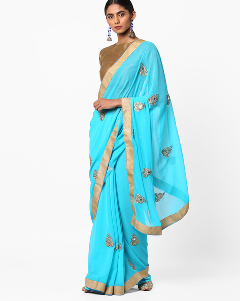 Embroidered Saree With Contrast Border By Vastrangi ( Skyblue )