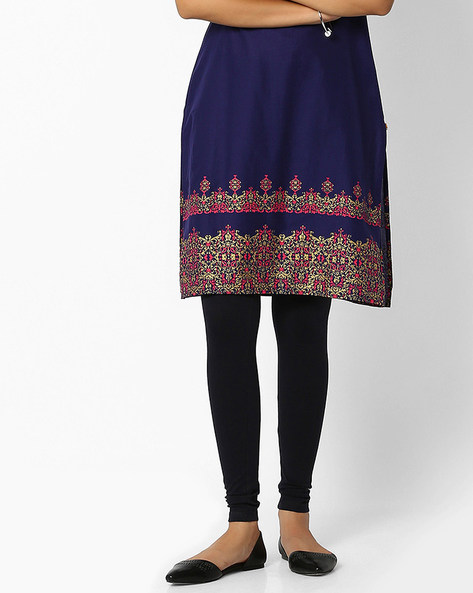 Churidar Leggings With Elasticated Waistband By W ( Blue )