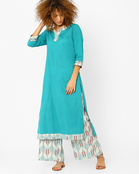 Straight Kurta With Contrast Detail By AJIO ( Teal )
