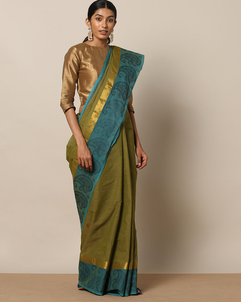 Kanchi Cotton Saree With Woven Border By Indie Picks ( Green ) - 460164722001