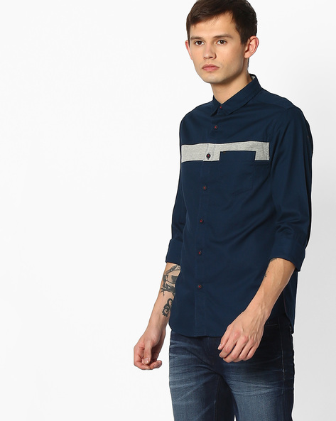 Slim Fit Shirt With Patch Pocket By SPYKAR ( Navy )