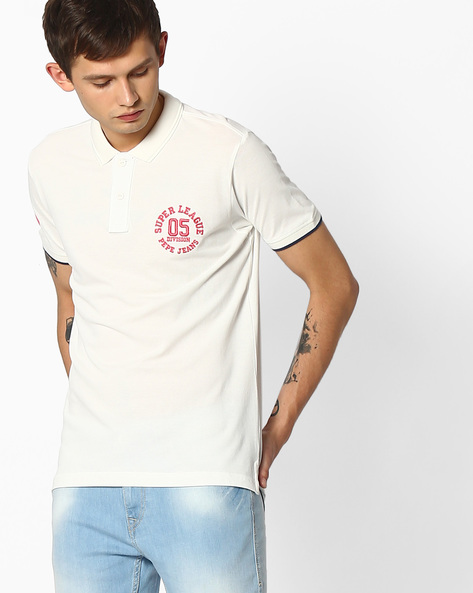 Polo T-shirt With Embroidered Detail By Pepe Jeans ( Ecru )