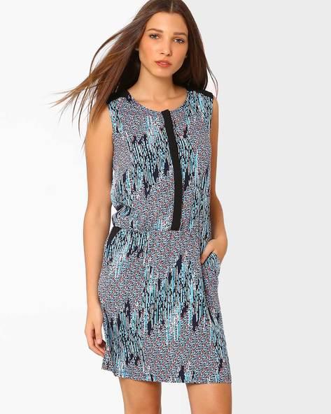 Printed Blouson Dress By AJIO ( Navyblue )