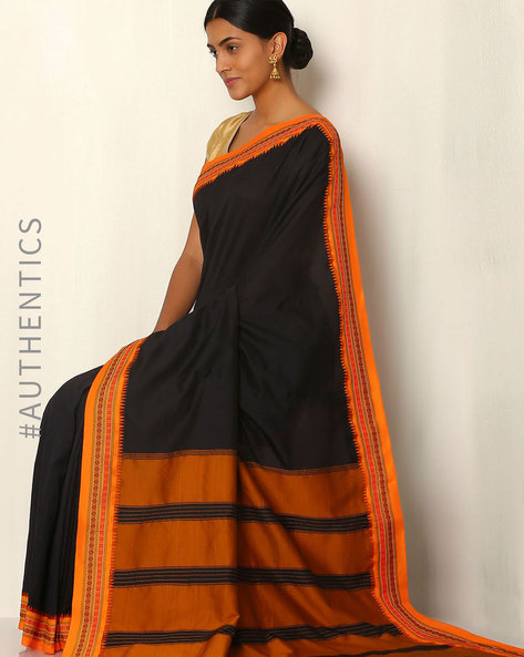 Art Silk Saree With Woven Border By Rudrakaashe-MSU ( Black )