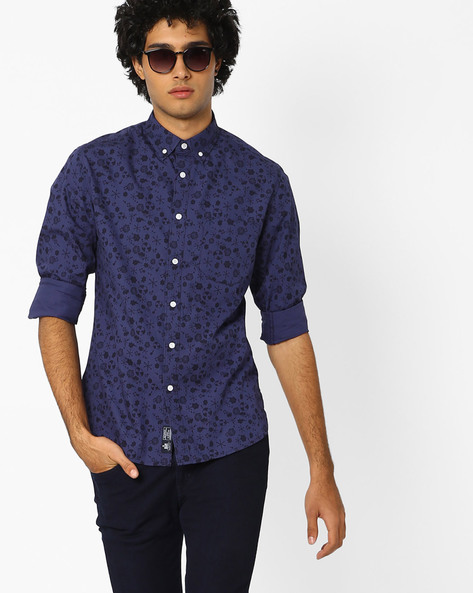 Printed Shirt With Button-Down Collar By Blue Saint ( Blue )