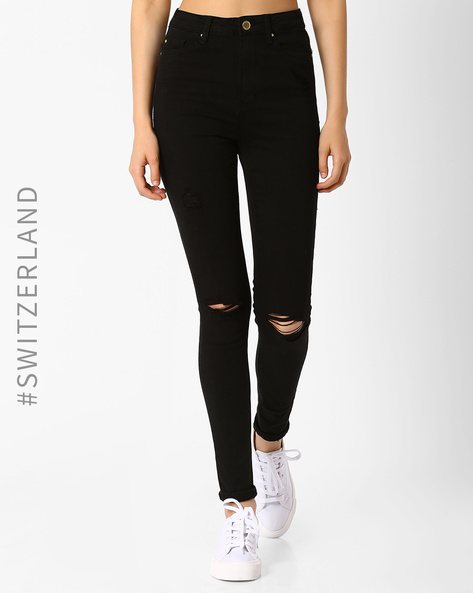 High-Rise Distressed Skinny Jeans By TALLY WEiJL ( Black )