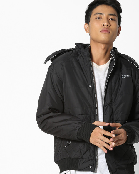 Zip-Front Quilted Jacket With Hood By Fort Collins ( Black )
