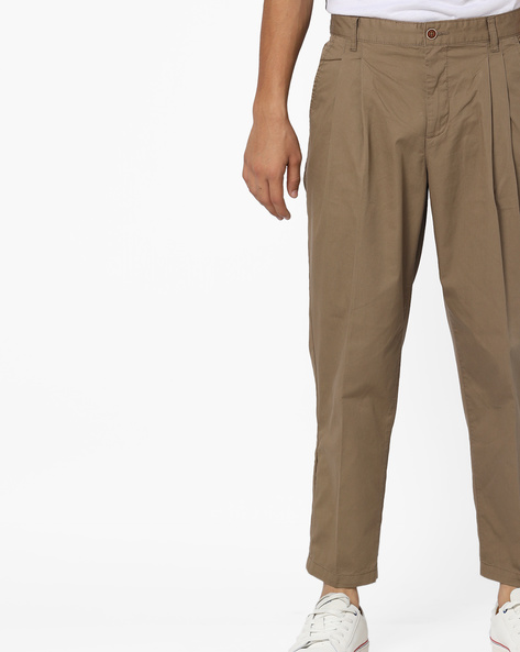 Pleated Ankle-Length Trousers By AJIO ( Olive )