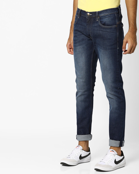 Lightly Washed Tapered Fit Jeans By Lee ( Blue )
