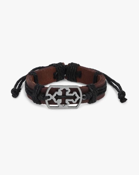 Bracelet With Metal Accent By ALPHA MAN ( Black )